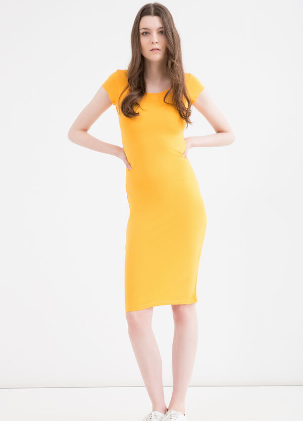 Solid colour stretch pencil dress | OVS