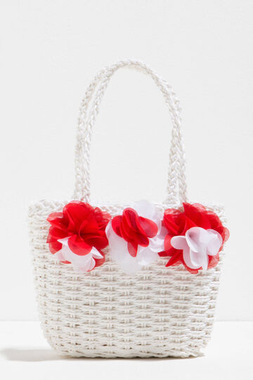 Straw shoulder bag with flowers