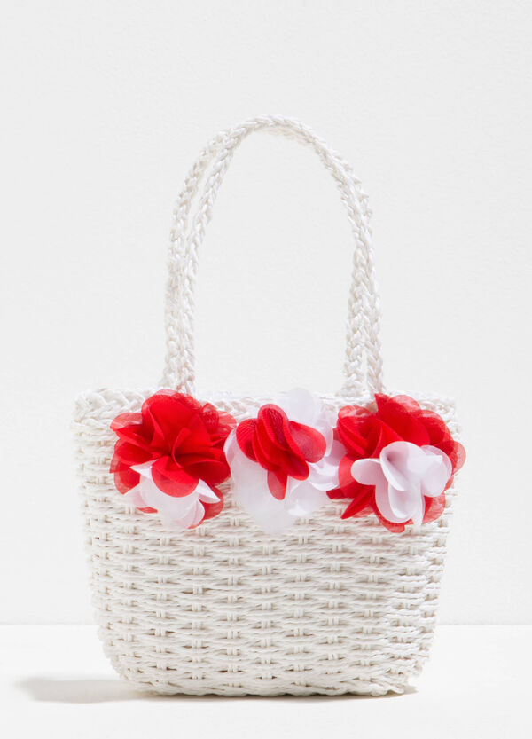 Straw shoulder bag with flowers | OVS