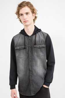 Casual shirt with fleece sleeves, Black, hi-res