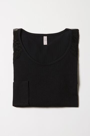 Stretch pyjama top with lace, Black, hi-res