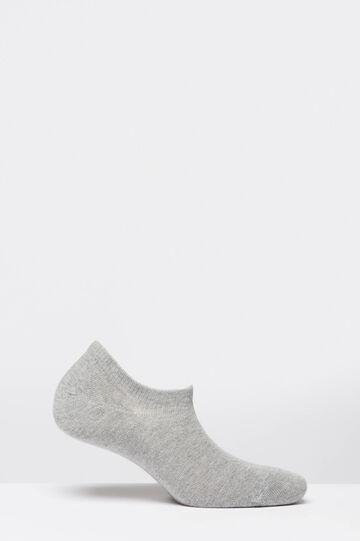 Short socks in stretch cotton blend, Light Grey, hi-res