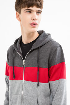 Multi-coloured cotton blend hoodie, Dark Grey, hi-res