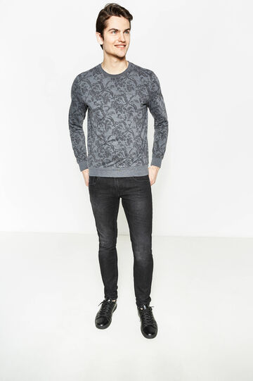Cotton pullover with floral print, Black/Grey, hi-res