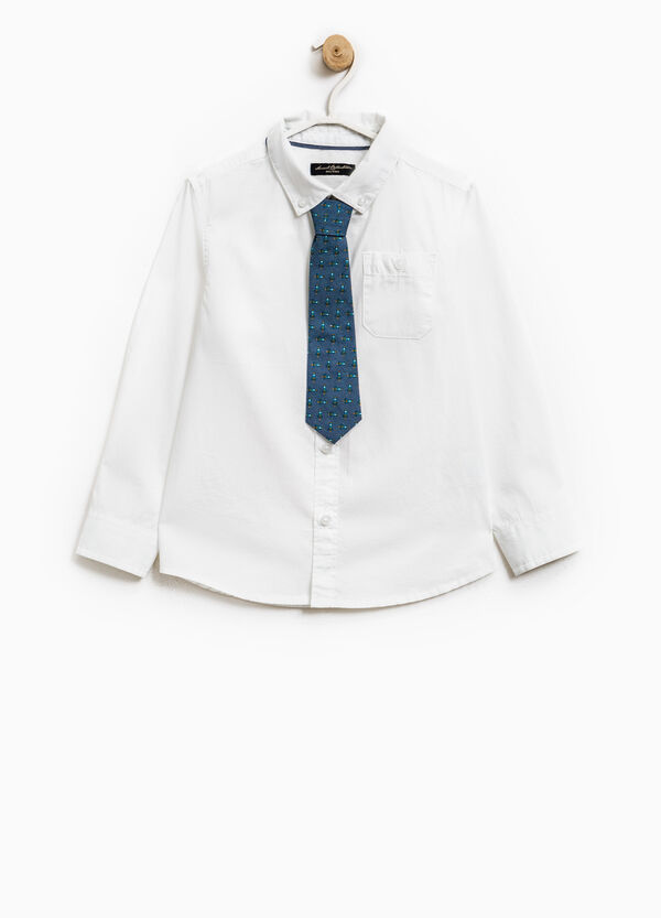 Button down cotton shirt with tie | OVS