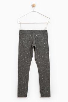 Viscose and cotton leggings with diamantès, Dark Grey, hi-res