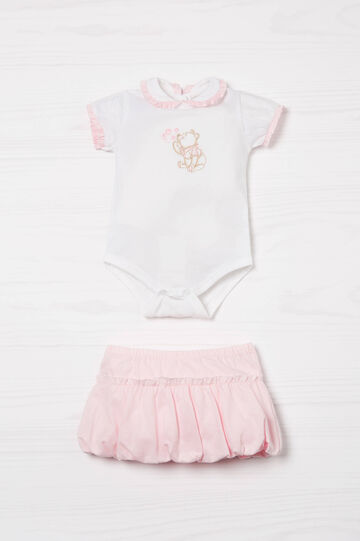 Biocotton bodysuit and skirt set, White/Brown, hi-res