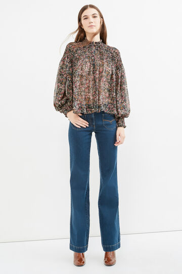 Blouse with all-over floral print, Black, hi-res