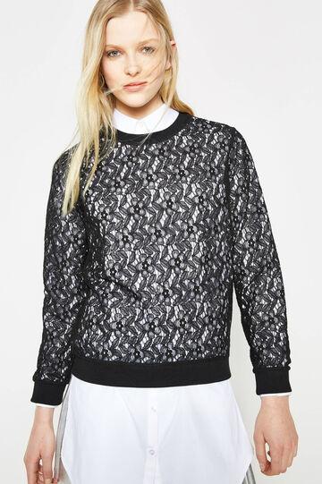 Crew-neck sweatshirt in semi-sheer lace