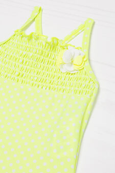 One-piece stretch swimsuit with polka dots, Yellow, hi-res