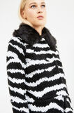 Knitted cardigan with fur, Black/White, hi-res