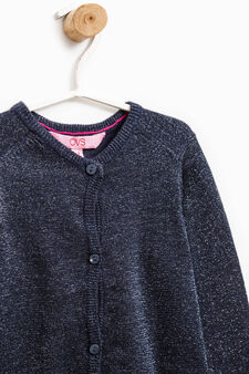 Cotton blend pullover with lurex, Navy Blue, hi-res