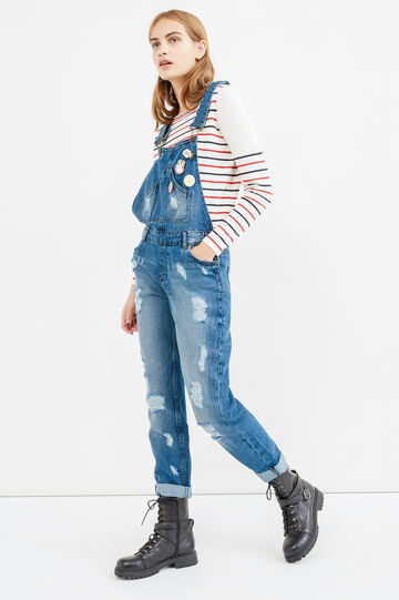 Worn-effect denim dungarees with pins, Medium Wash, hi-res