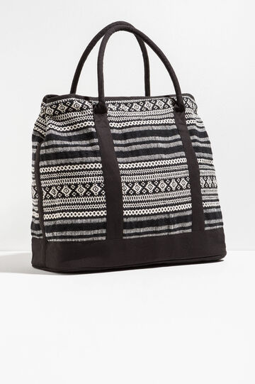 Ethnic pattern beach bag, White/Black, hi-res