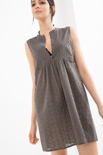Cotton sleeveless beach cover-up, Khaki, hi-res