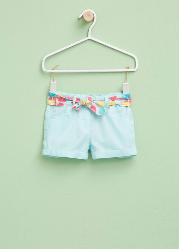 Shorts in 100% cotton with belt | OVS