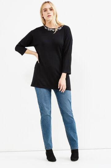 Curvy wool and viscose blend pullover, Black, hi-res