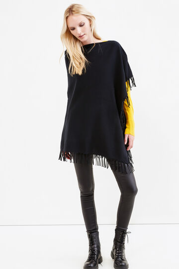 Solid colour poncho with fringe, Black, hi-res