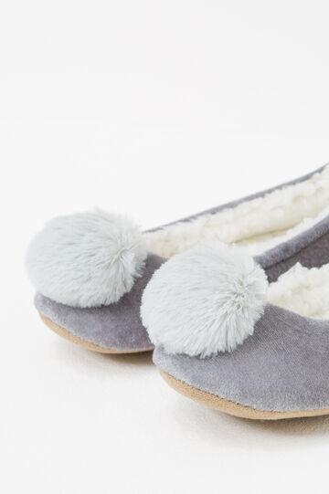 Pantofole ballerine con pon pon, Grigio, hi-res