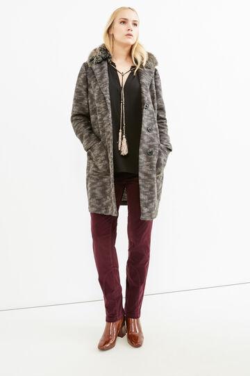Curvy jacket with faux fur collar, Grey, hi-res