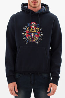 G&H sweatshirt with ethnic print, Dark Blue, hi-res