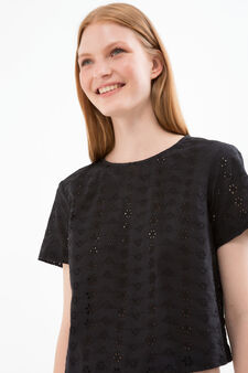 T-shirt crop cotone tinta unita, Nero, hi-res