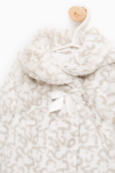 Faux fur coat with animal print, White/Grey, hi-res