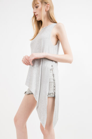 Stretch viscose top with asymmetric hem, Grey, hi-res