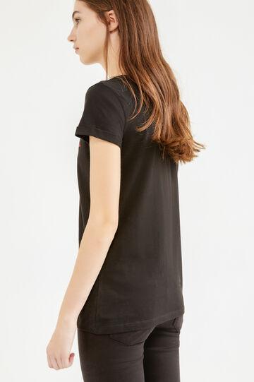 T-shirt puro cotone stampa Biancaneve, Nero, hi-res