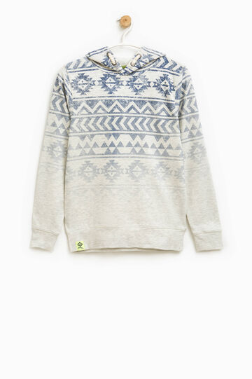 Ethnic patterned hoodie with degradé effect, Grey/Blue, hi-res