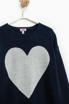 100% cotton oversized pullover with embroidery., Blue, hi-res