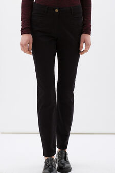 Regular fit stretch cotton trousers, Black, hi-res
