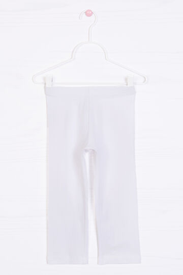 Solid colour stretch leggings, White, hi-res