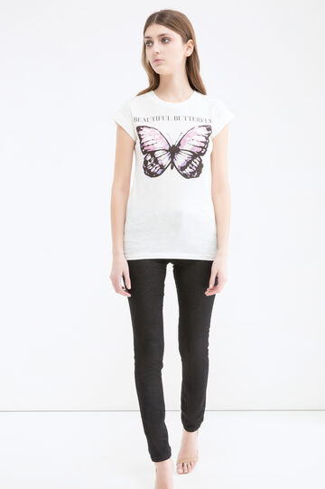 Butterfly print T-shirt in cotton, White, hi-res