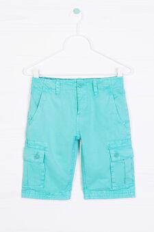 Bermuda cargo shorts in 100% cotton, Blue, hi-res