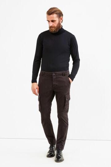 Pantaloni cargo slim fit cotone stretch, Nero, hi-res