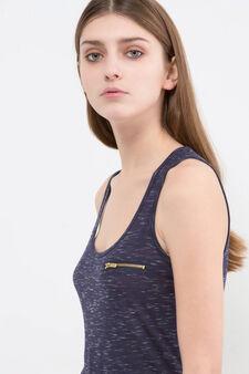 Viscose blend top with zip, Blue, hi-res