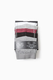 Five-pack solid colour cotton boxer shorts, Black/Grey, hi-res