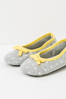 Slippers with star pattern and bows, Grey, hi-res