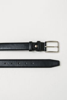 Textured belt with shiny buckle, Black, hi-res