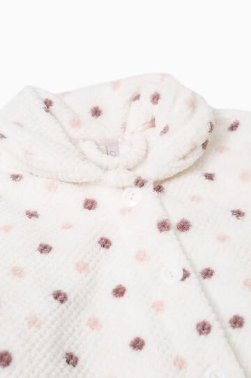 Felpa pigiama pile stampa a pois, Bianco panna, hi-res