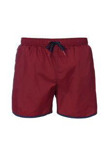 Swim boxer shorts with drawstring waist, Wine Purple, hi-res