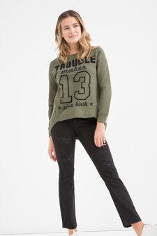 Teen printed sweatshirt in cotton, Army Green, hi-res