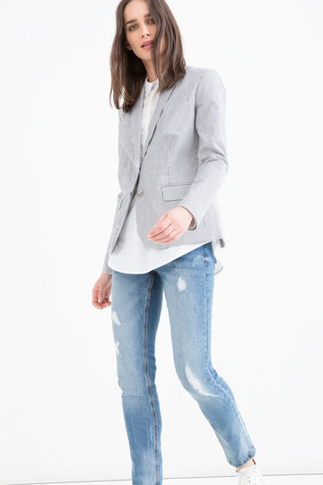 Stretch blazer in striped cotton, White/Grey, hi-res