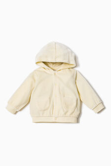 Cotton jacket with hood, Yellow, hi-res