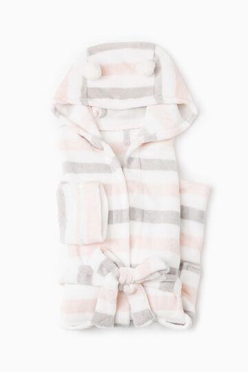 Vestaglia in pile cappuccio e pon pon, Bianco/Rosa, hi-res