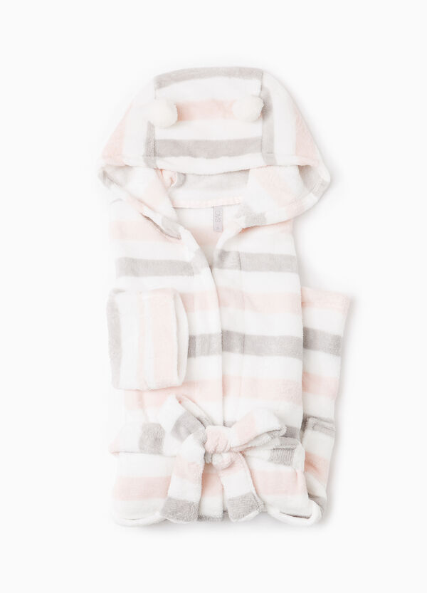 Fleece dressing gown with hood and pompoms | OVS