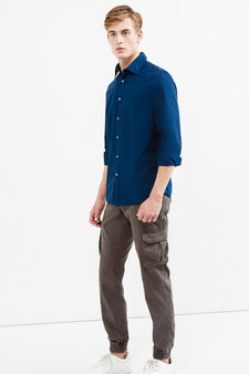 Camicia casual puro cotone tinta unita, Blu, hi-res