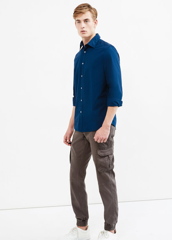 Solid colour 100% cotton casual shirt   OVS