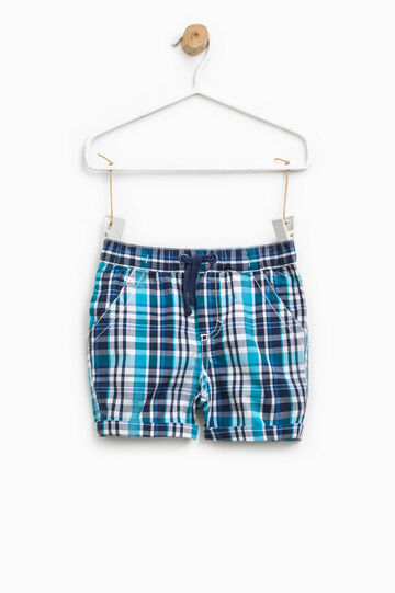 100% cotton check shorts, Blue/Light Blue, hi-res